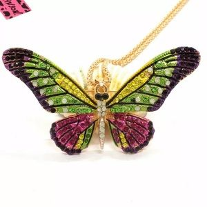 Betsey Johnson Bling Butterfly Crystal Necklace
